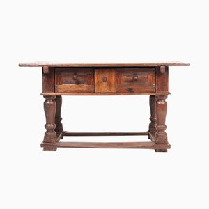 Antique Baroque Norwegian Patinated Solid Oak Desk, 1740s