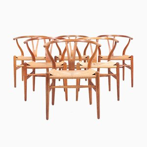 Patinated Oak Wishbone Chairs by Hans J. Wegner for Carl Hansen & Søn, 1950s, Set of 6