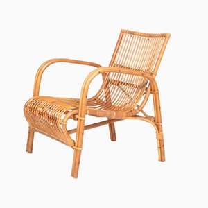 Mid-Century Danish Bamboo and Elm Lounge Chair from Wengler, 1940s
