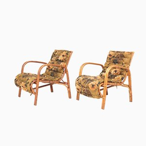 Mid-Century Danish Bamboo and Elm Lounge Chairs from Wengler, 1940s, Set of 2