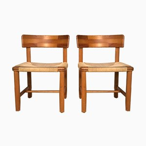 Pinewood and Paper Cord Side Chairs by Rainer Daumiller for Hirtshals Sawmill, 1970s, Set of 2