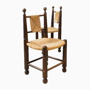 Chaises d'Appoint en Paille dans le Style de Dudouyt, 1950s, Set de 6