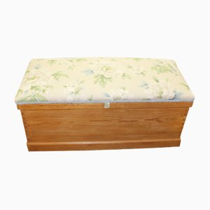 Antique Country Pine Blanket Box with Floral Upholstered Top, 1910s