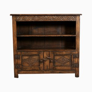 Solid Ipswich Oak Carved Open Bookcase, 1920s