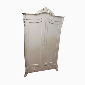 White 2 Door Wardrobe with Base Drawer, 1960s