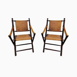 Vintage Leather and Rosewood Military Campaign Folding Chairs, 1960s, Set of 2