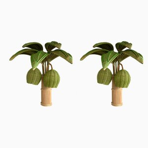 Vintage French Rattan Palm Tree Sconces, Set of 2