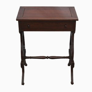 Antique Mahogany Lyre End Side Table, 1900s