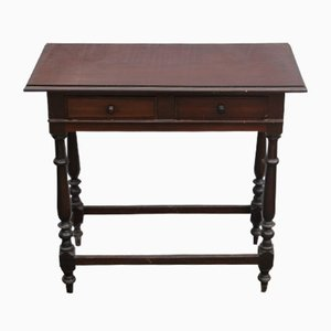 Antique Mahogany 2 Drawer Writing Side Table, 1900s