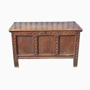 Oak Coffer with Carved Panels, 1850s
