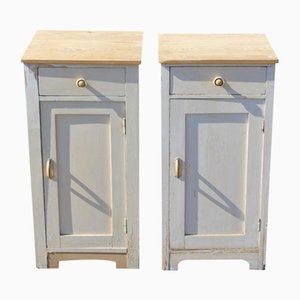 Dutch White Painted Pine Cabinets, 1960s, Set of 2