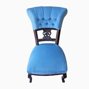 Antique Victorian Mahogany Nursing Chair Upholstered in Blue