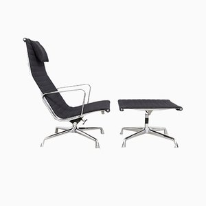 American EA 124 Swivel Lounge Chair & EA 125 Ottoman by Charles & Ray Eames for Herman Miller, 1960s