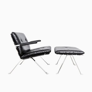 Model 1600 Lounge Chair & Ottoman by Hans Eichenberger for Girsberger, 1970s, Set of 2