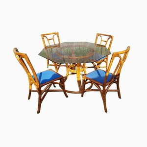 Rattan Dining Table & Chairs Set by Maugrion for Roche Bobois, 1980s, Set of 5