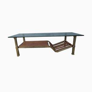 Table Basse en Cuir, Verre et Fer, 1980s