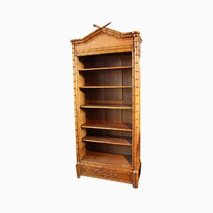 Napoleon III French Brown Wooden Faux Bamboo Storage Cabinet