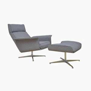 Mid-Century Lounge Chair & Ottoman from Hans Kaufeld, Set of 2