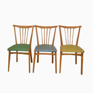Mid-Century Pastel Dining Chairs, 1950s, Set of 3