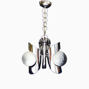 Vintage Space Age Italian Chrome Ceiling Lamp, 1972