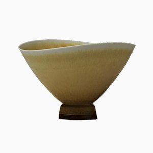 Yellow Ochre Glazed High Footed Bowl by Berndt Friberg for Gustavsberg, 1970s
