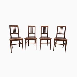 Antique Art Nouveau Oak Dining Chairs, Set of 4