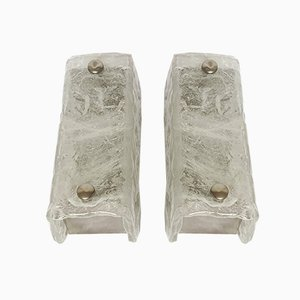 German Ice Glass Sconces by Egon Hillebrand for Hillebrand Lighting, 1960s, Set of 2