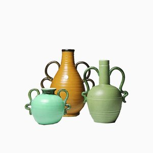 Vases with Ornamental Handles by Eva Jancke-Björk for Bo Fajans, 1930s, Set of 3