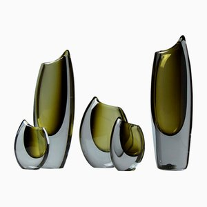 Swedish Shark Tooth Sommerso Vases by Gunnar Nylund for Strömbergshyttan, 1950s, Set of 5