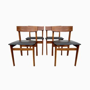 Vintage Black Vinyl Dining Chairs from Drevounia, 1960s, Set of 4