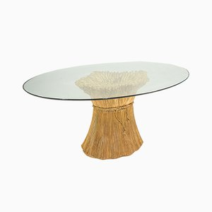 Vintage Italian Sculptural Glass Top Dining Table by Morex, 1970s