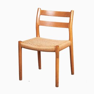 Vintage Oak and Paper Cord No. 84 Dining Chairs by Niels Otto Møller for J.L. Møllers, 1970s, Set of 4