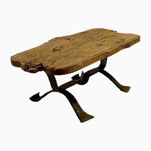 Brutalist Rustic Modern French Coffee Table, 1950s