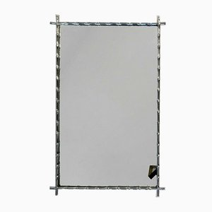 French Silvered Metal Bamboo Mirror from Maison Jansen, 1960s