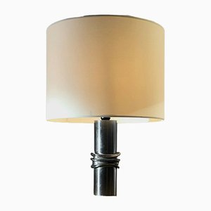 French Compressed Metal Table Lamp from Moniquet Jacques, 1970s