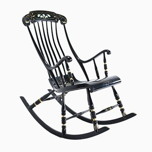 Rocking Chair Antique en Daim, 1900s