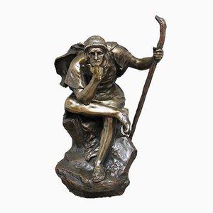 Scultura grande in bronzo di Edipo meditating di Henri Daniel Contenot, XIX secolo
