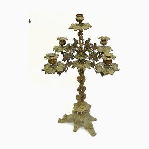 Großer barocker Kerzenhalter aus vergoldeter Bronze mit 5 Armen im 19. Jahrhundert