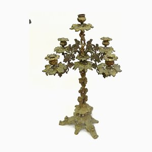 Large 19th Century Baroque Style 5-arm Gilt Bronze Candleholder