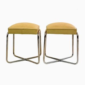 Tubular Steel Ottomans, 1930s, Set of 2