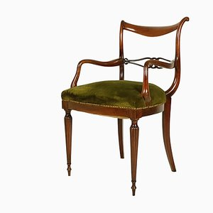 Mid-Century Italian Wooden and Green Velvet Armchair, 1950s