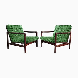 Polish Greeb Model B-7752 Jacquard Armchairs by Zenon Bączyk for Swarzedzkie Fabryki Mebli, 1960s, Set of 2