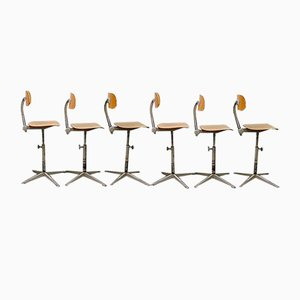 Industrial Bar Stools by Friso Kramer for Ahrend De Cirkel, 1950s, Set of 7