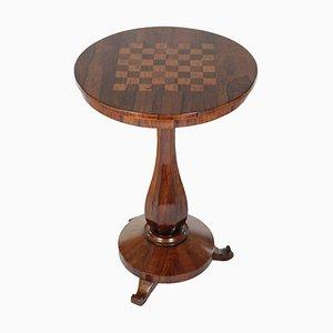 French Mahogany Veneer and Inlaid Round Chess Table