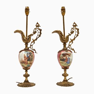 Vintage French Porcelain Table Lamps, 1930s, Set of 2