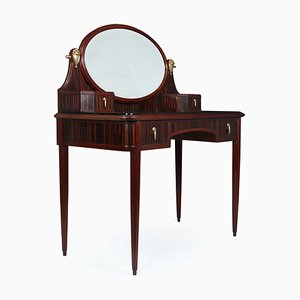 Art Deco French Macassar, Ebony, and Gilt Bronze Dressing Table, 1930s