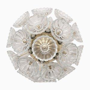German Glass and Metal Sunburst Sconce from VEB Leuchten, 1960s