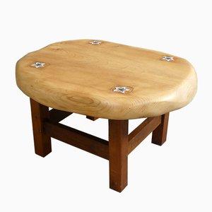 Mesa de centro francesa de madera de pino y cerámica, años 60