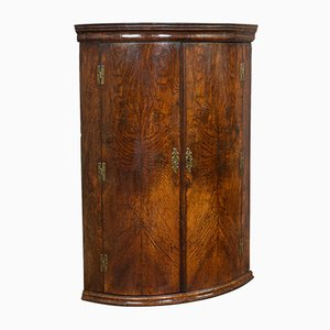 Antique Georgian English Oak Bow Front Corner Cabinet