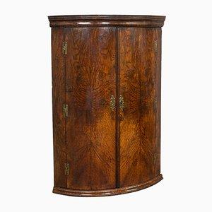 Antique Georgian English Oak Bow Front Corner Cabinet
